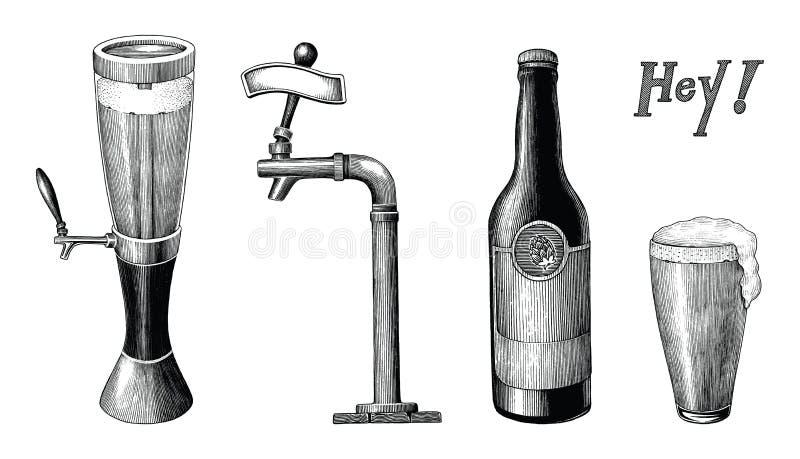 Trekt de uitstekende hand van de bierinzameling geïsoleerde gravurestijl op wh stock illustratie