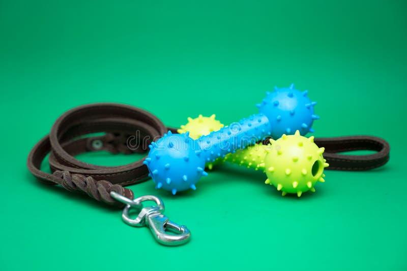 Trelas do animal de estimação com fontes de borracha do brinquedo e do animal de estimação para o conceito do cão ou do gato fotografia de stock