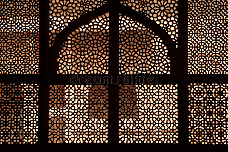 Trellis de marbre du tombeau. Fatehpur Sikri, Inde photo stock