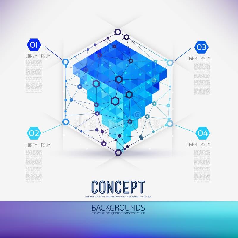 Trellis géométrique de concept abstrait, la portée des molécules, dans l'hexagone illustration stock