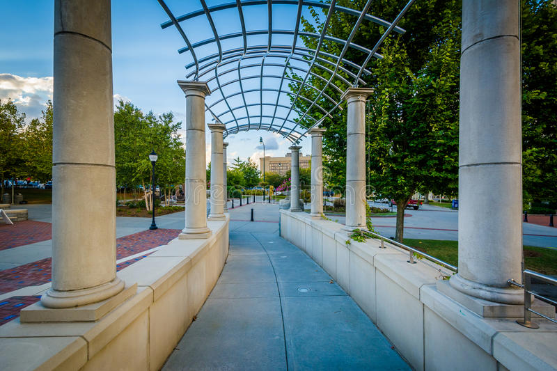 Trellis and walkway at Pack Square Park, in downtown Asheville,. North Carolina royalty free stock photos