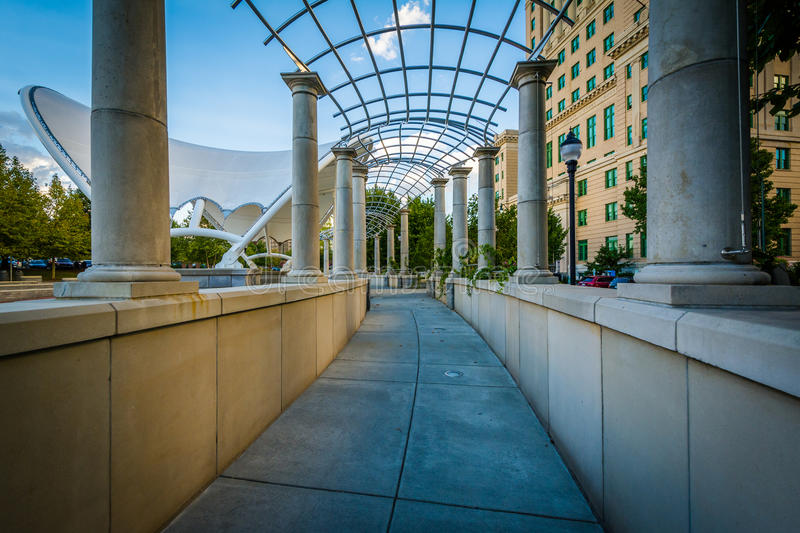 Trellis and walkway at Pack Square Park, in downtown Asheville,. North Carolina stock images