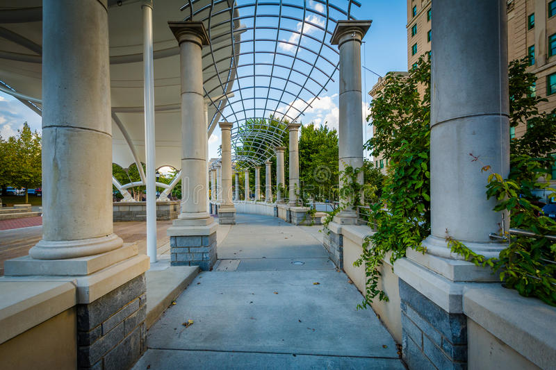 Trellis and walkway at Pack Square Park, in downtown Asheville,. North Carolina royalty free stock photo
