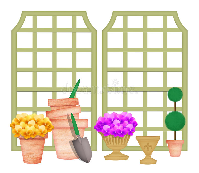Cute Gardening Elements Including Trellises And Flowers In Pots