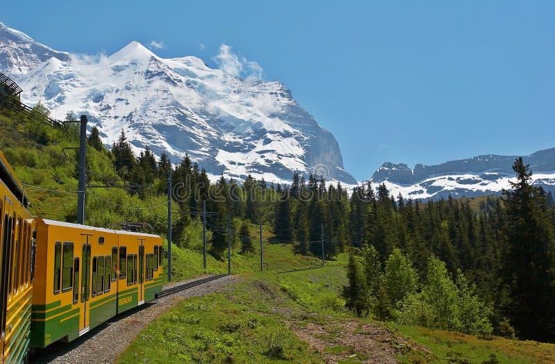 Trem através das montanhas fotos de stock