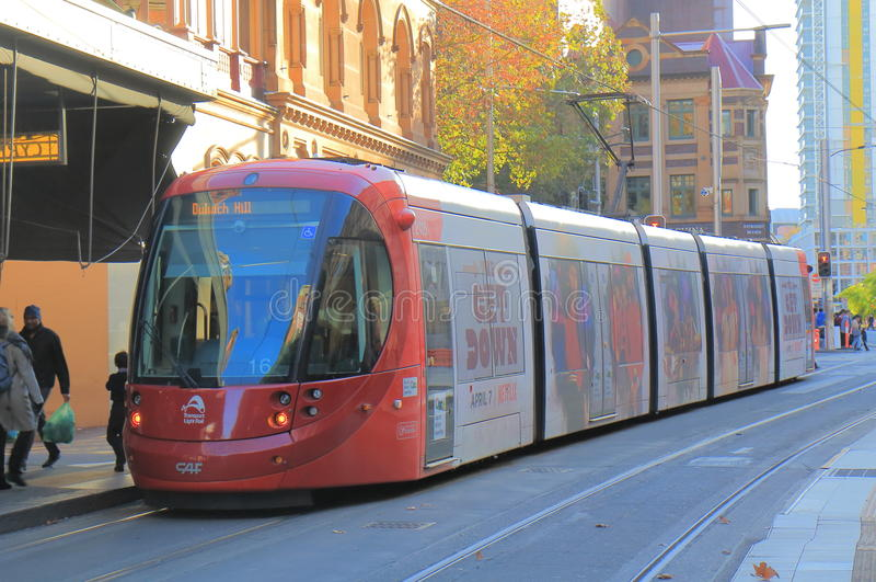 Trem Austrália do bonde do trilho da luz de Sydney fotografia de stock