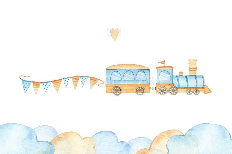 Trem bonito da aquarela com o brinquedo railway da criança do transporte locomotivo das bandeiras para o menino ilustração royalty free