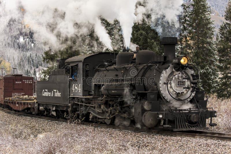Trem cênico do vapor de Cumbres & de Toltec, Chama, New mexico a Antoni foto de stock
