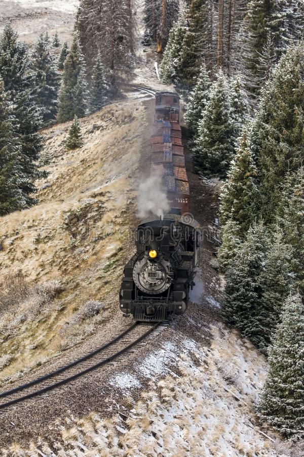 Trem cênico do vapor de Cumbres & de Toltec, Chama, New mexico a Antoni fotografia de stock royalty free