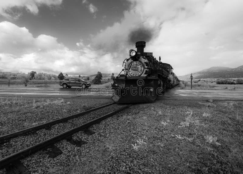 Trem cênico do vapor de Cumbres & de Toltec, Chama, New mexico a Antoni imagem de stock royalty free