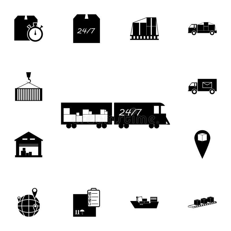 Trem com ícone da carga Grupo detalhado de ícones logísticos Ícone superior do projeto gráfico da qualidade Um dos ícones da cole ilustração stock