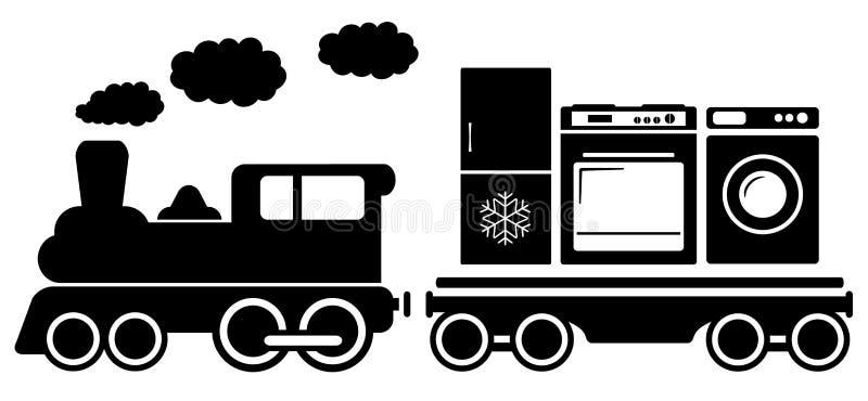 Trem com ícone dos aparelhos eletrodomésticos ilustração do vetor