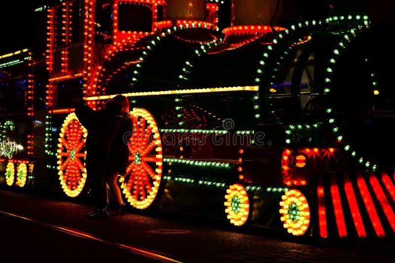 Trem com as decora??es claras na exposi??o fotos de stock