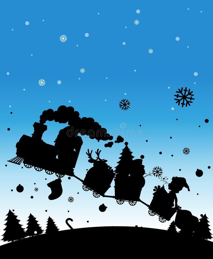 Trem da silhueta completamente de coisas do Natal ilustração stock