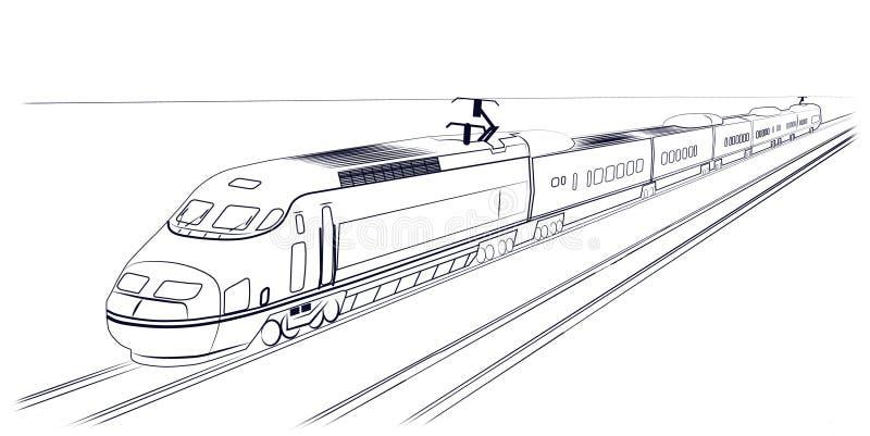Trem de alta velocidade do passageiro ilustração royalty free