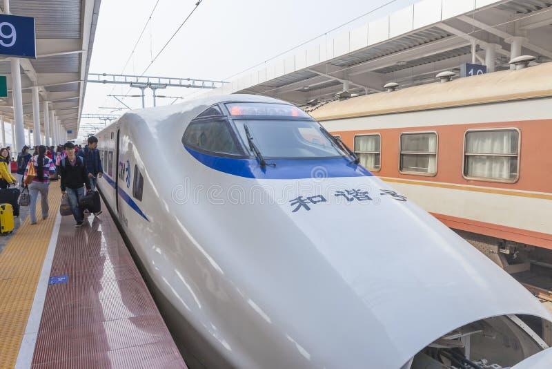 Trem de alta velocidade no feriado do festival de mola de Chinse fotos de stock royalty free