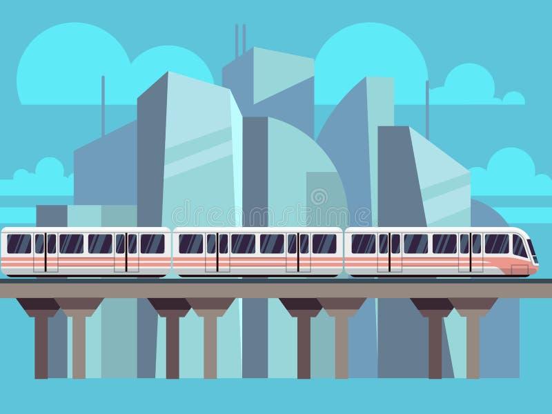 Trem de céu, vetor do conceito do metro ilustração do vetor