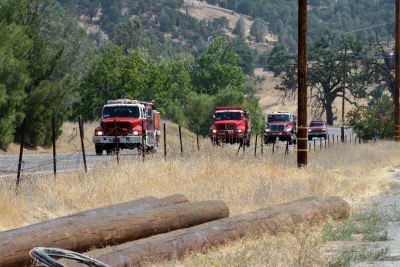 Trem de cabeças das viaturas de incêndio à área de fogo imagem de stock