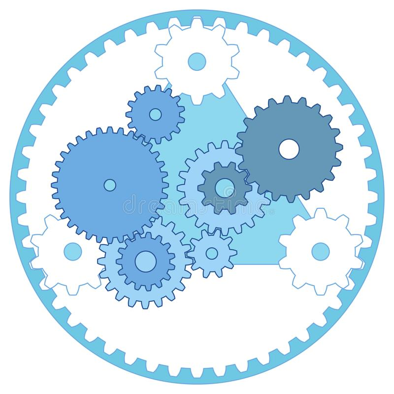 Trem de engrenagem do esquema da engenharia mecânica e engrenagens planetárias ilustração do vetor