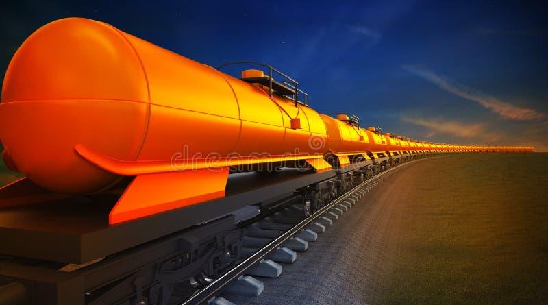 Trem de mercadorias com os reservatórios do óleo no fundo do céu ilustração do vetor