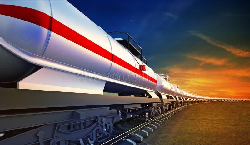 Trem de mercadorias com os reservatórios do óleo no fundo do céu fotografia de stock