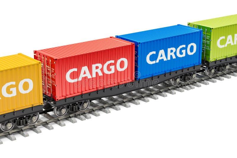 Trem de mercadorias com recipientes de carga, rendição 3D ilustração do vetor