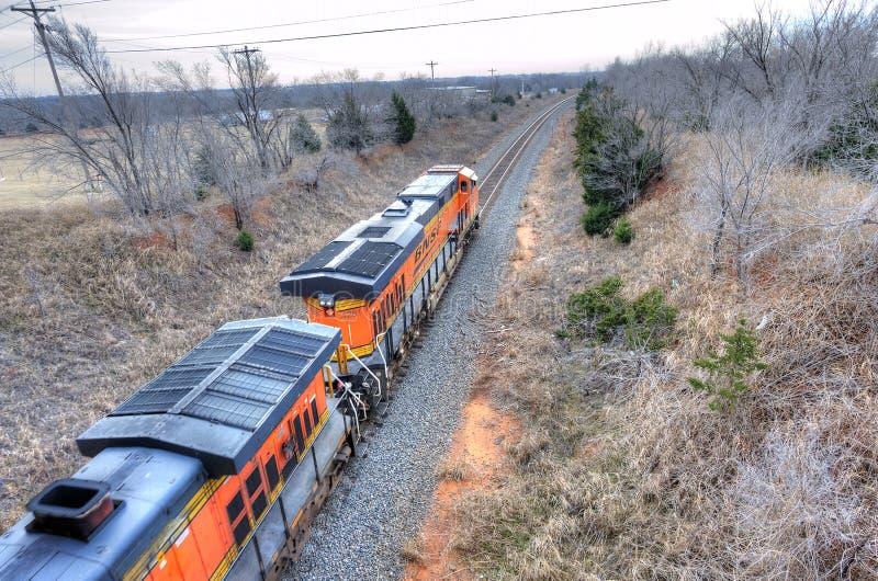 Trem de mercadorias que dirige para o sul em Oklahoma foto de stock