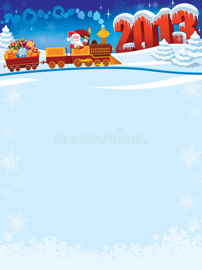 Trem de Papai Noel ilustração royalty free