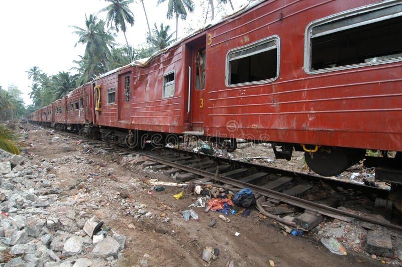 Trem destruído por Tsunami fotografia de stock
