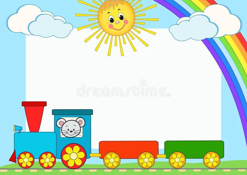 Trem do bebê. Estrutura da foto das crianças. ilustração do vetor