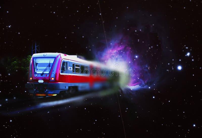 Trem do espaço, satélite e nebulosa de Orion imagem de stock