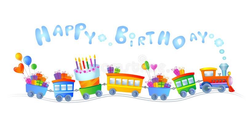 Trem do feliz aniversario ilustração do vetor