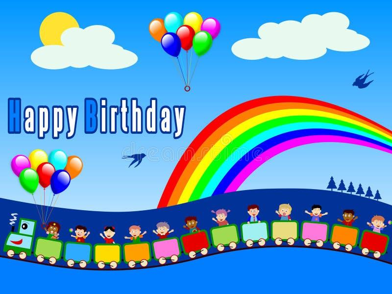 Trem do feliz aniversario [menino 1] ilustração stock