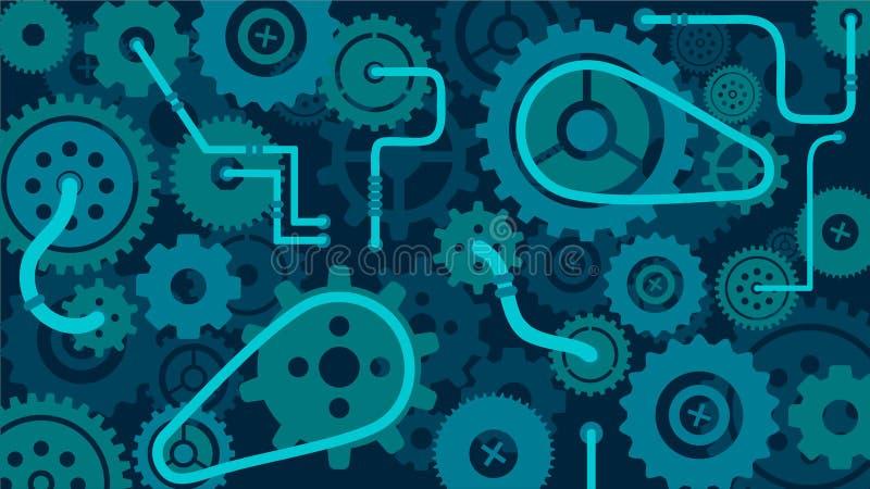 Trem do fundo do mecanismo das engrenagens e das rodas denteadas, do pulso de disparo ou da máquina ilustração do vetor