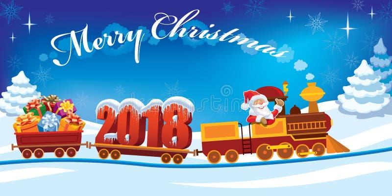 Trem 2018 do Natal ilustração stock