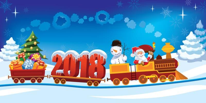 Trem 2018 do Natal ilustração royalty free