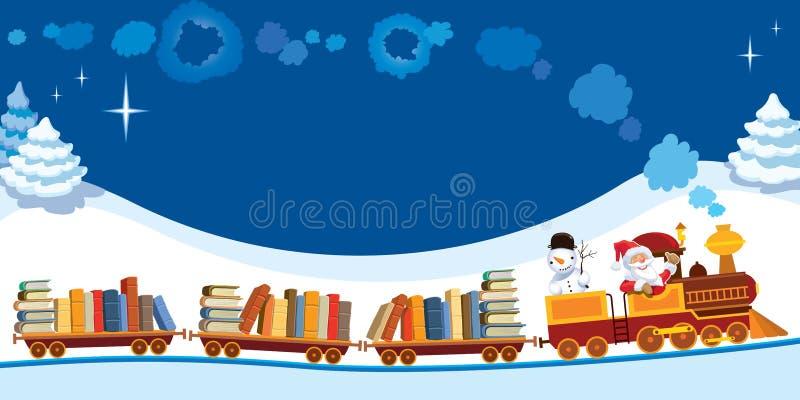 Trem do Natal com livros ilustração royalty free