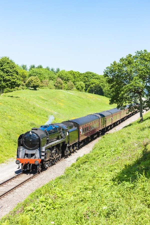 trem do vapor, estrada de ferro de Gloucestershire Warwickshire, Gloucestershi foto de stock