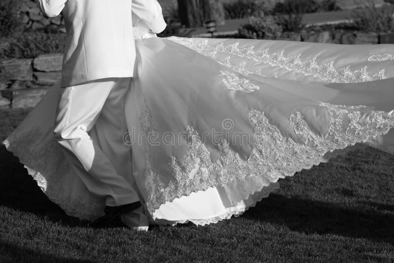 Trem do vestido de casamento fotografia de stock