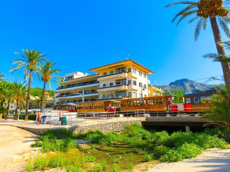 Trem do vintage em Soller, Mallorca, Espanha foto de stock