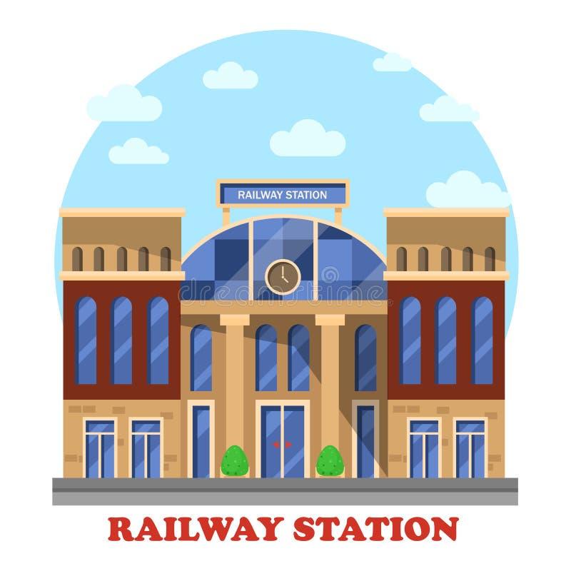 Trem e estrada de ferro, estação de estrada de ferro ou depósito ilustração stock