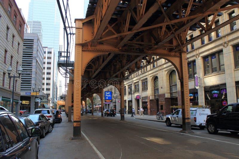 Trem elevado de Chicago fotos de stock royalty free