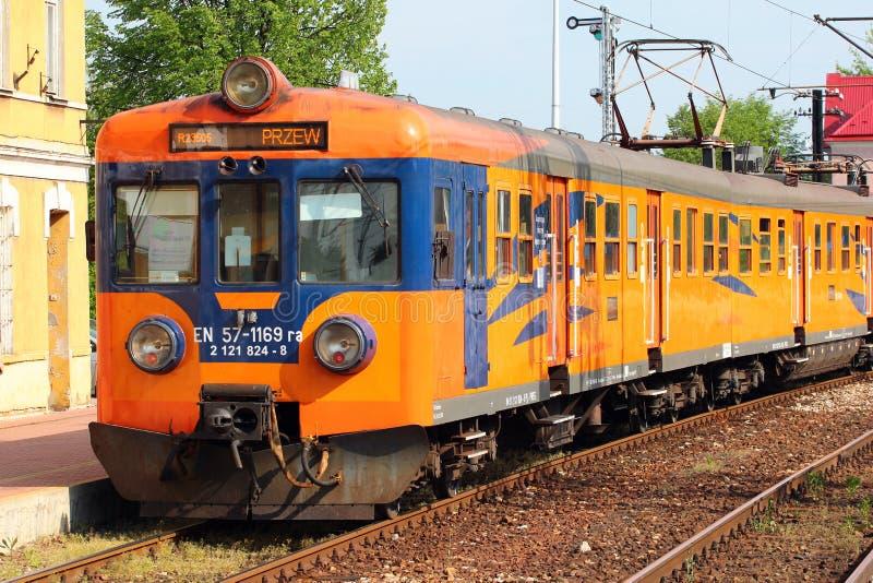 Trem em Stalowa Wola, Polônia fotografia de stock