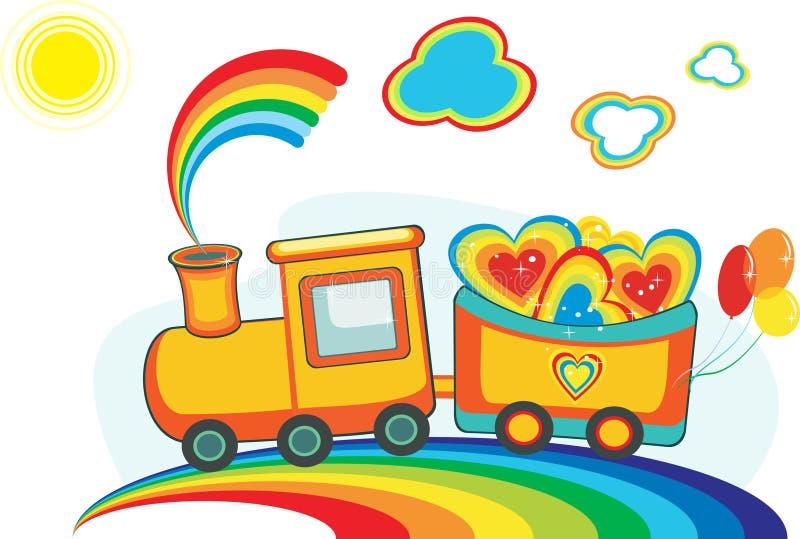 Trem feericamente do arco-íris com corações e os balões felizes fotos de stock royalty free