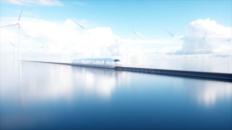 Trem futurista do monotrilho de Speedly Estação de Sci fi Conceito do futuro Povos e robôs Água e energias eólicas 3d fotografia de stock