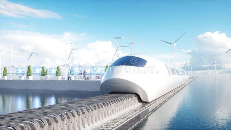 Trem futurista do monotrilho de Speedly Estação de Sci fi Conceito do futuro Povos e robôs Água e energias eólicas 3d ilustração royalty free