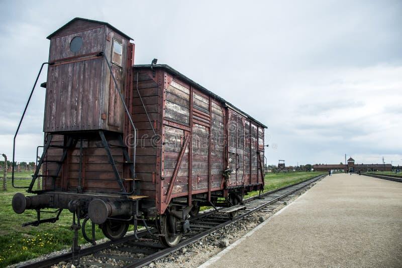 Trem histórico no Polônia de Auschwitz Birkenau KZ do campo de concentração dos trilhos imagem de stock royalty free