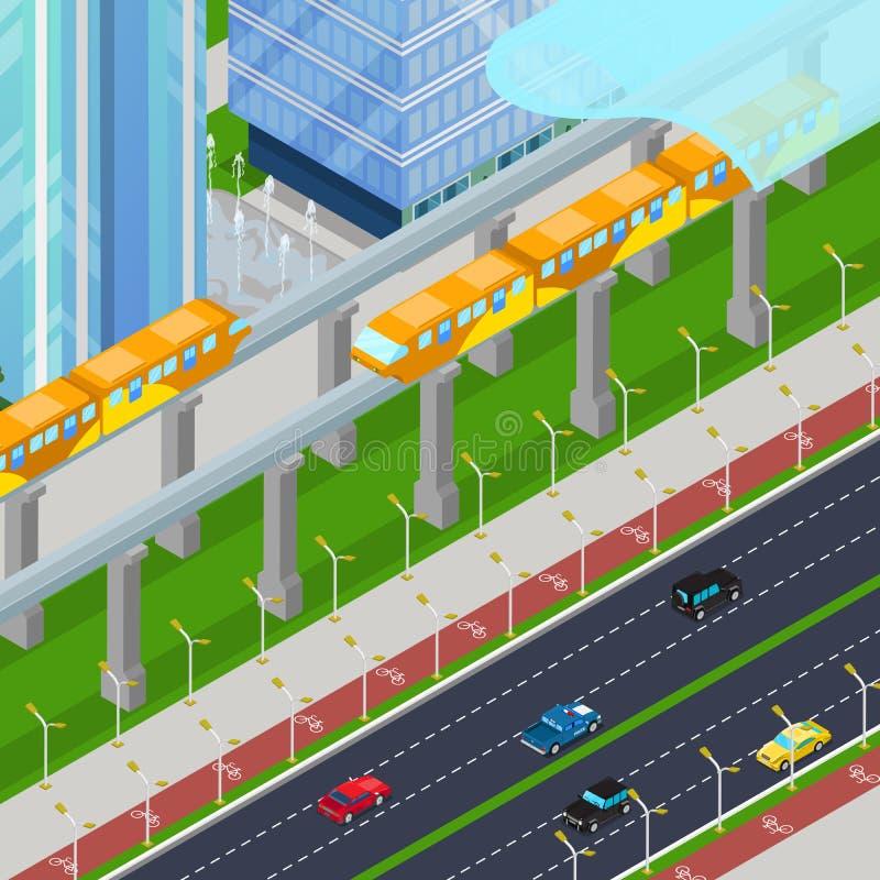 Trem isométrico da estrada de ferro de monotrilho na cidade moderna com arranha-céus ilustração stock