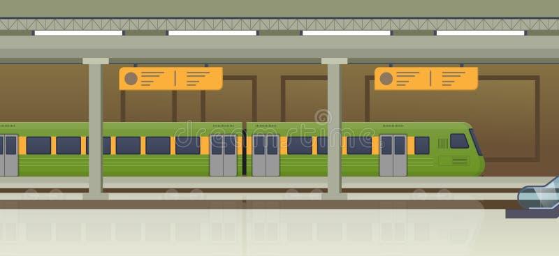 Trem moderno na estação de trem Tipo Railway de transporte, locomotiva ilustração stock