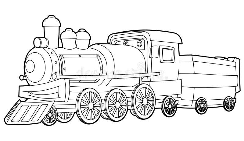 Trem - página da coloração para as crianças ilustração royalty free